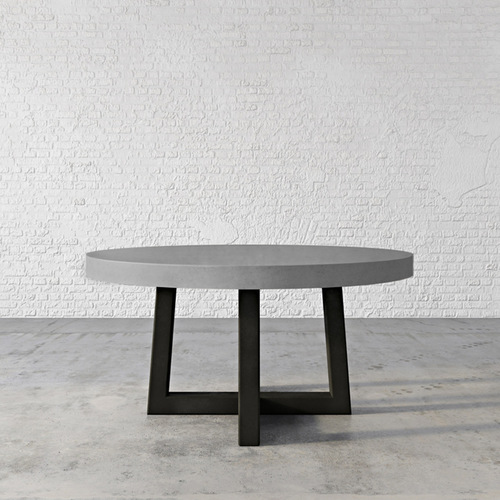 Trueform Torre Round Concrete Dining Table is a nice addition to any dining or family room. Perfect as a conference table. Wharton, New Jersey. Kitchen table. Concrete shown in the color graphite.