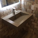 """Trueform 24"""" ADA Floating Concrete Bathroom Sink is designed for a restaurant, bar or hotel and meets requirements for thickness, set backs and clearances. Wharton, New Jersey. Concrete color = Pewter"""