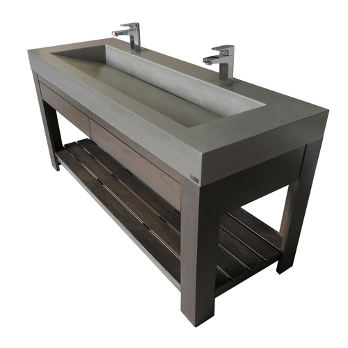 "Trueform 60"" Lavare Vanity with Concrete Ramp Sink & Drawer.  Vanity top integral sink with base, bathroom, powder room, hotel, bar, restaurant. Concrete color shown in Pewter : Base in Espresso. Wharton, New Jersey."