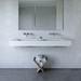 "60"" Double ADA Floating Concrete Sink, vanity top, bathroom, powder room, hotel, bar, restaurant. Concrete shown in White Linen"
