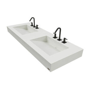 "60"" ADA Floating Concrete Double Ramp Sink  FLO-60V-DBL-ADA Concrete shown in White Linen Commercial wall hung bathroom Lavatory"