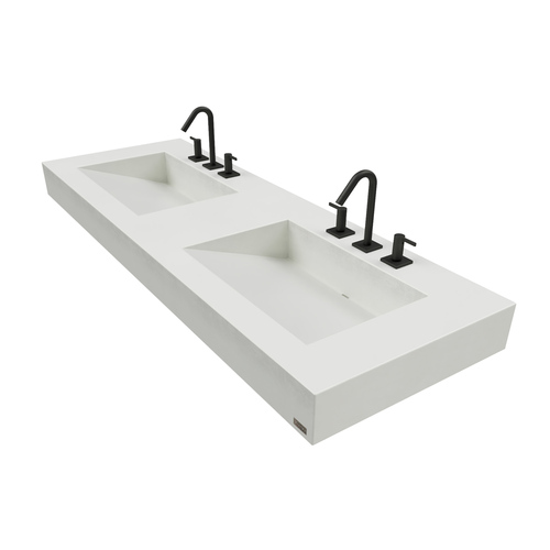 """60"""" ADA Floating Concrete Double Ramp Sink  FLO-60V-DBL-ADA Concrete shown in White Linen Commercial wall hung bathroom Lavatory"""
