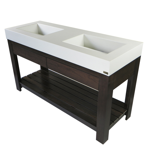 "Trueform Concrete 60"" Lavare Vanity With  Concrete Ramp Sink & Drawer, vanities, bathroom, powder room. Concrete shown in White Linen : Base in Espresso"
