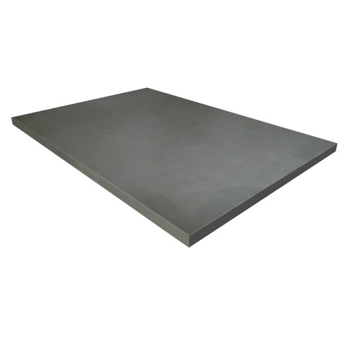 Concrete table top shown in the color Charcoal