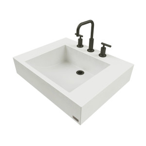 "Trueform 24"" ADA Floating Concrete Half-Trough Sink is designed for a restaurant, bar or hotel and meets requirements for thickness, set backs and clearances.  Color = White Linen"