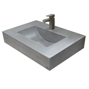 "Trueform 30"" Floating Concrete Trough Sink is a custom modern sink with contemporary features for the bathroom, or powder room. Wharton, New Jersey. Concrete shown in Graphite"