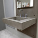 """Trueform 30"""" Floating Concrete Half-Trough Sink is a custom modern sink with contemporary features for the bathroom, kitchen, or powder room. Wharton, New Jersey. Concrete shown in Taupe / Wall Panel in Pewter."""