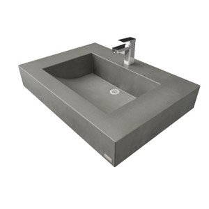 "Trueform 30"" Floating Concrete Half-Trough Sink is a custom wall mounted floating sink with contemporary features for the bathroom or powder room. Wharton, New Jersey. Concrete shown in Charcoal"
