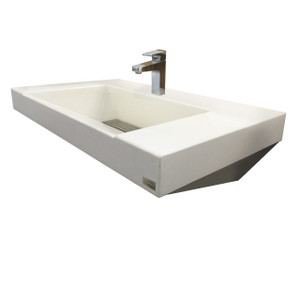 Trueform Concrete Paradigm Concrete Sink - Wall hung steel base and concrete sink. Concrete shown in White Linen