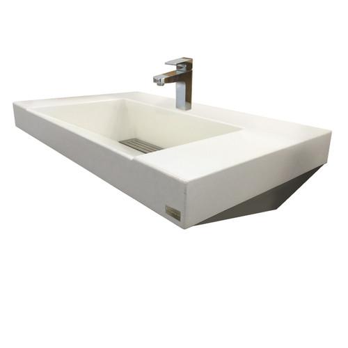Trueform Concrete Paradigm Concrete Sink - Wall hung steel base and concrete sink. Concrete shown in White Linen