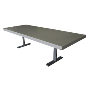 Trueform Ferro Rectangle Concrete Dining Table. A nice addition to any kitchen, dining or family room. Perfect as a conference table. Wharton, New Jersey. Concrete shown in Graphite
