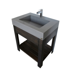 "The Trueform Concrete 30"" Lavare Vanity with Concrete Ramp Sink & Drawer is a custom modern sink with contemporary features for the bathroom, or powder room. Wharton, New Jersey. Vanity top integral sink with base. Concrete shown in Graphite / Base in Espresso"