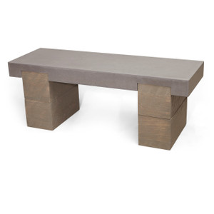 Clodagh Railroad Concrete Bench by Trueform Color shown in Graphite : Base in Weathered Grey