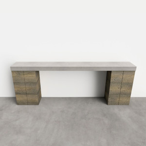 "Clodagh Railroad Console Table by Trueform.  Concrete shown in the color ""Concrete""; wood base in ""Weathered Gray""."