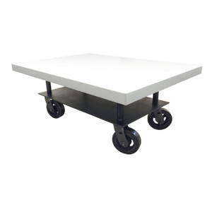 Clodagh Concrete Nomadic Coffee Table By Trueform Concrete Color shown in White Linen
