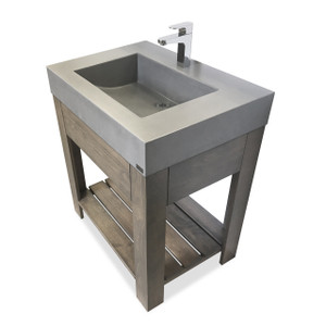 "Trueform 30"" Lavare Concrete Bathroom Vanity Sink with Drawer is a custom modern sink with contemporary features for the bathroom, or powder room. Wharton, New Jersey. Vanity top integral sink with base. Concrete shown in the color Graphite."