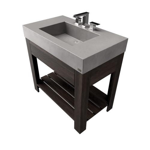 """36"""" Lavare Vanity with Concrete Half-Trough Sink & Drawer SKU: LAVARE-36C-D Concrete color shown in: Graphite Wood base finish shown in: Espresso"""