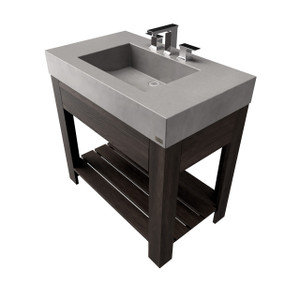 "36"" Lavare Vanity with Concrete Half-Trough Sink & Drawer SKU: LAVARE-36C-D Concrete color shown in: Graphite Wood base finish shown in: Espresso"