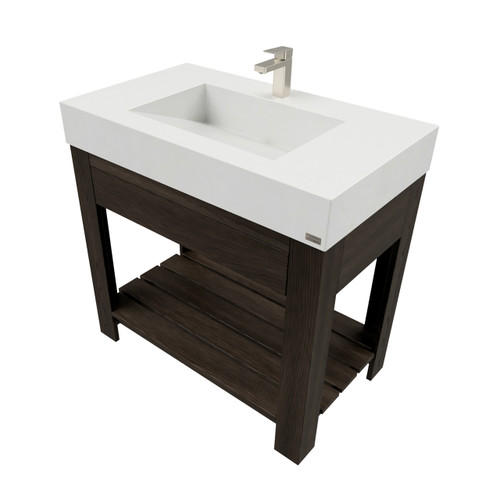 "36"" Lavare Vanity with Concrete Ramp Sink & Drawer SKU: LAVARE-36V-D Concrete color shown in White Linen Vanity Base finish shown in Espresso"