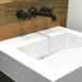 """FLO-20V-ADA in the color """"White Linen"""" adorned with wall-mount faucets by Waterworks."""