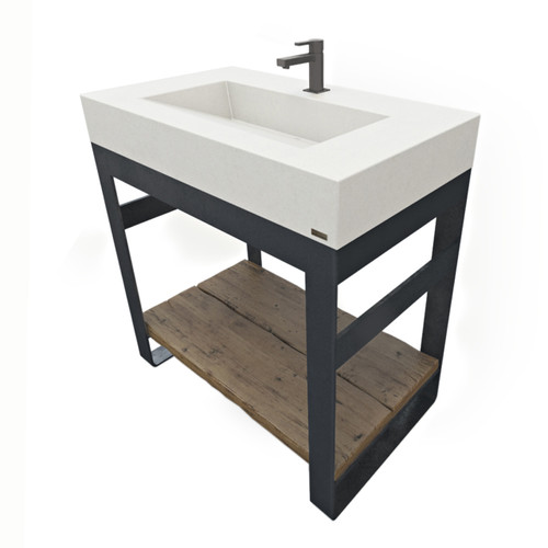 Outland Vanity with concrete sink, steel base and wood shelves. Concrete shown in White Linen