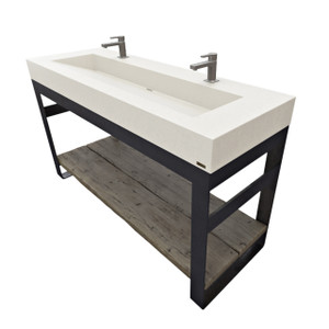 """Outland Vanity with concrete sink, steel base and wood shelves. Concrete shown in color """"White Linen""""."""