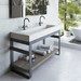 """Outland 60"""" Vanity with Concrete Ramp Sink. Concrete shown in color """"White Linen""""."""