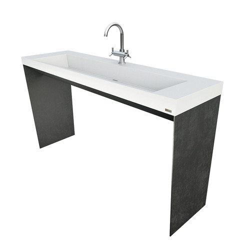 """Trueform 60"""" Contempo Concrete Bathroom Vanity Sink. A custom modern sink with contemporary features for the bathroom, or powder room. Wharton, New Jersey. Concrete shown in the color White Linen"""