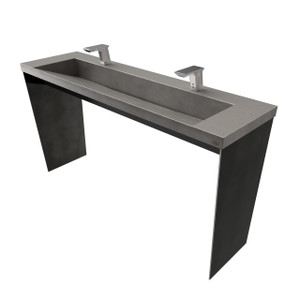 "Trueform 60"" Contempo Concrete Bathroom Vanity Sink is a sleek and modern washstand and is ADA accessible. Ideal for residential bathrooms, powder rooms, or commercial lavatories. Wharton, New Jersey. Concrete shown in the color ""Charcoal""."