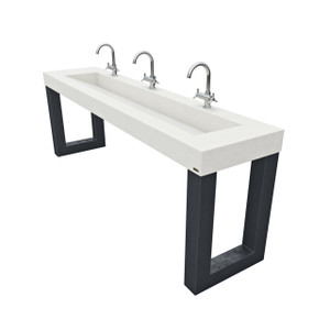 "96"" Zen ADA Commercial Concrete Ramp Sink with metal stand, concrete vanity, 84"" sink, vessel, lav, lavatory, concrete bathroom sink, metal legs, sink with metal base"