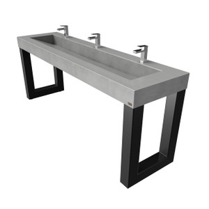 "98"" ZEN ADA 3-Station Commercial Concrete Washstand SKU: ZEN-98-80V-ADA Concrete Color Shown in: Graphite Sink ID: 80"" basin"