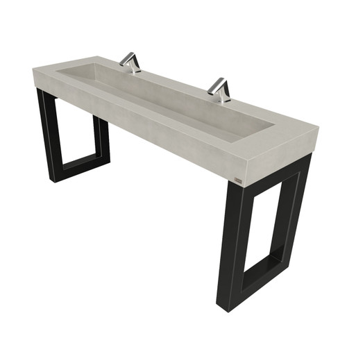 "68"" Zen ADA Commercial Vanity with 48"" Concrete Ramp Sink, designed for 2 washstations. SKU: ZEN-68-48V-ADA. Concrete shown in the color ""Limestone""."