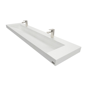 "72"" Contempo Floating Concrete Ramp Sink FLO-72V-CONTEMPO Concrete shown in White Linen"