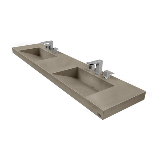 "72"" Contempo Floating Concrete Double Ramp Sink FLO-72V-DBL-CONTEMPO Color Shown In Pewter"