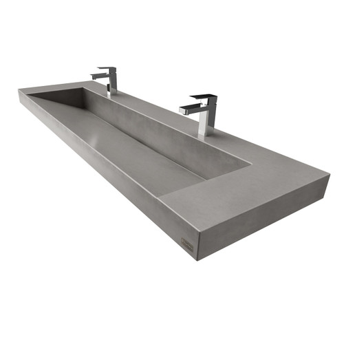 """Trueform 60"""" Contempo Floating Concrete Ramp Sink is designed for a restaurant, bar or hotel.  Sink shown in """"Graphite""""."""