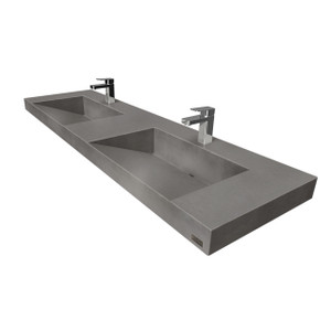 "60"" Contempo Floating Concrete Double Ramp Sink FLO-60V-DBL-CONTEMPO Concrete Color Shown In Charcoal"