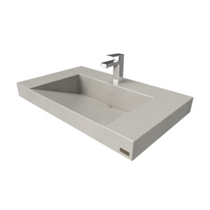Trueform Contempo Floating Concrete Bathroom Sink is a custom modern sink with contemporary features for the bathroom, or powder room. Wharton, New Jersey. Concrete shown in the color Concrete