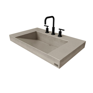 Trueform Contempo Floating Concrete Bathroom Sink is a custom modern sink with contemporary features for the bathroom, or powder room. Wharton, New Jersey. Concrete shown in the color Taupe