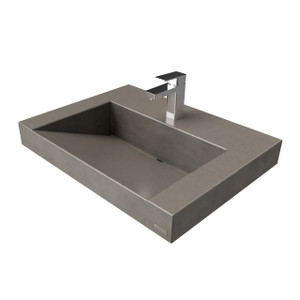 Trueform Contempo Floating Concrete Bathroom Sink is a custom modern sink with contemporary features for the bathroom, or powder room.  Concrete shown in the color Dusk