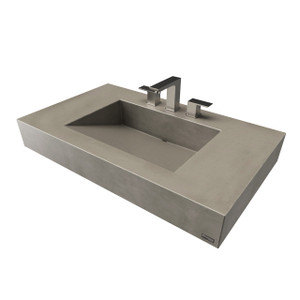 "36"" ADA Floating Concrete Ramp Sink FLO-36V-ADA Concrete color shown in Pewter"
