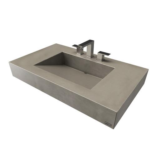 "36"" ADA Floating Concrete Ramp Sink FLO-36V-ADA Concrete color shown in Pewter"