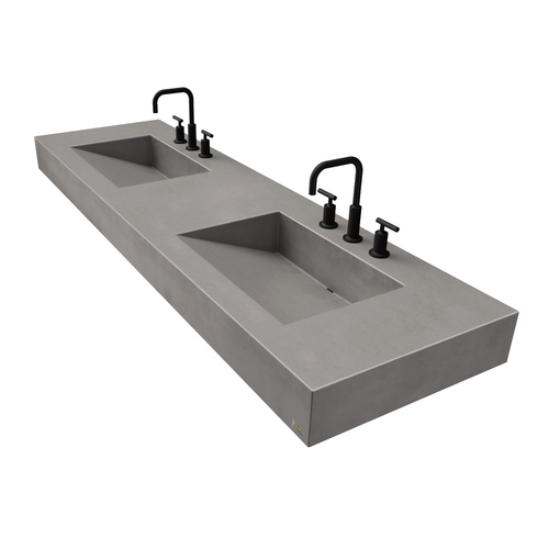 "72"" ADA Floating Concrete Double Ramp Sink FLO-72V-DBL-ADA Concrete color shown in Graphite"
