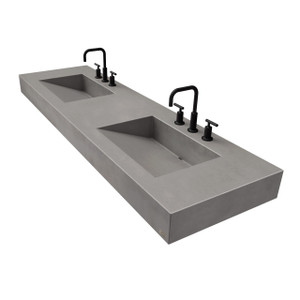 "72"" ADA Floating Concrete Double Ramp Sink FLO-72V-DBL-ADA Concrete color shown in Graphite"