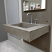 """Trueform 36"""" ADA Floating Concrete Rectangle Sink is a custom modern sink with contemporary features for the bathroom, or powder room. Wharton, New Jersey. Concrete shown in the color Taupe"""