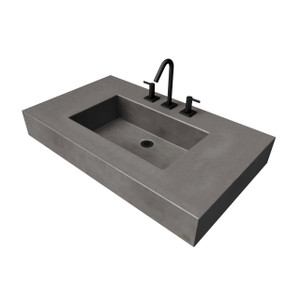 "36"" ADA Floating Concrete Rectangle Sink FLO-36N-ADA Concrete color shown in Charcoal"