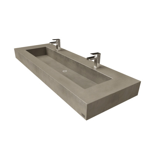 """60"""" ADA Floating Concrete Rectangle Sink (FLO-60N-ADA) shown in the color """"Pewter""""."""