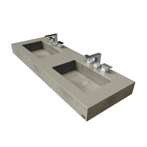 "60"" ADA Floating Concrete Double Rectangle Sink  (FLO-60N-DBL-ADA) Color shown in Taupe"