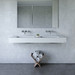 "72"" ADA Floating Concrete Double Rectangle Sink FLO-72N-DBL-ADA Concrete color shown in White Linen"