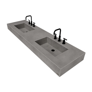 "72"" ADA Floating Concrete Double Rectangle Sink FLO-72N-DBL-ADA Concrete color shown in Graphite"