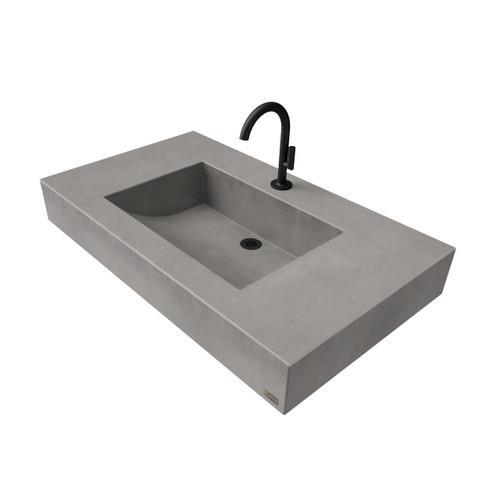 "36"" ADA Floating Half-Trough Concrete Sink FLO-36C-ADA Concrete color shown in Graphite"